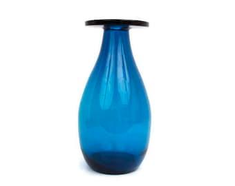 Vintage Turquoise Glass Vase Flat Top Hand Blown Bulbous Body Blue Art Glass Centerpiece LARGE Vessel Window Display Floral Arrangement