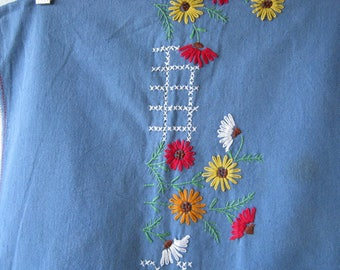 """Rich Blue Vintage Tablecloth with Embroidered White/Orange/Green/Yellow/Red Daisies & Cream Border~49 x 36"""" Natural Fiber Tablecloth"""