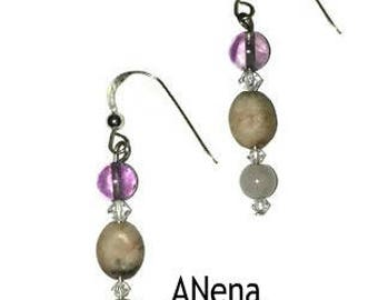 "Earrings  ""Faithful and Loving"" 925 Genuine Sterling Silver, Genuine Amethyst, Rhodonite, and  Rose Quartz By ANena Jewelry"