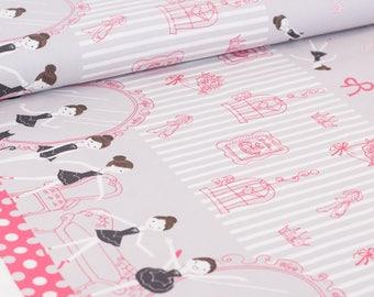Shinzi Katoh | Japanese fabric - kawaii ballerina fabric - oxford cotton - hot pink and gray - 1/2 YD
