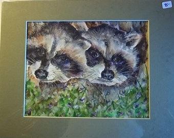 TWINS, Original Matted Watercolor