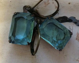 Aquamarine Earrings Vintage Translucent Aquamarine Drop Rhinestone Earrings Octagon Lever Back Ear Wires Aged Brass Setting Crow and Company