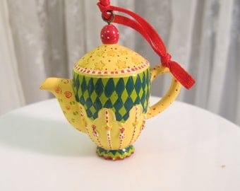 Vintage 90's Mary Engelbreit miniature pitcher ornament 2 1/4""