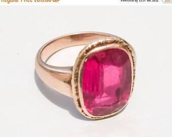 Ruby Ring, European Gold 585, 14K Gold, Edwardian Vintage Jewelry