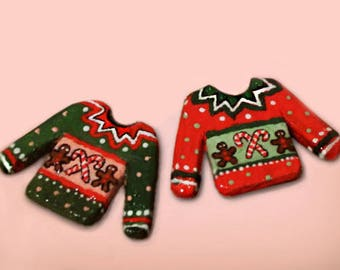 Hand-painted Red & Green Mini Ugly Sweater Cardboard Earrings - Made to Order