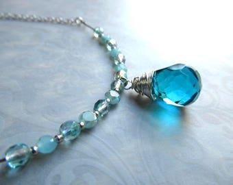 Ocean Opal Necklace Stone Necklace Crystal Pendant Blue Quartz Necklace Silver Bar Necklace Teal Blue Necklace- Elegance