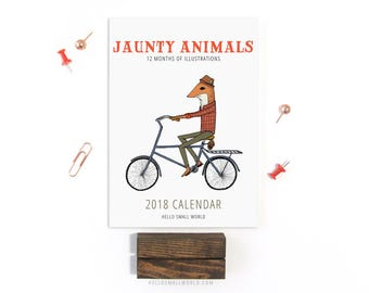 2018 Calendar - Jaunty Animals by Hello Small World, Desk Calendar, Monthly Calendar, 12 Months, Fox Bear Bicycle Raccoon Moose