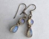 Silver Moonstone Drop Earrings. Vintage Sterling Silver Dangle Earrings, Teardrop Moonstones.