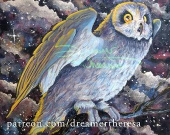 Owl night nebula watercolor acrylic ink painting on wood