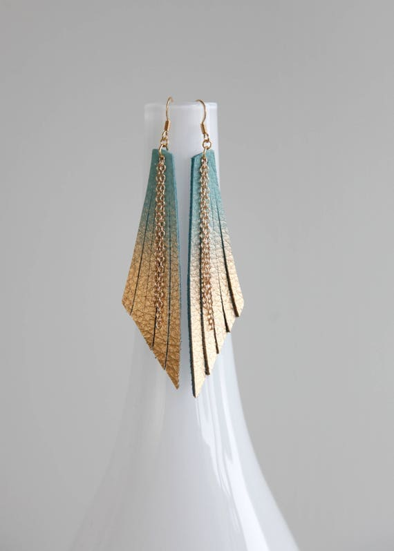 Long ombré turquoise and gold fringe leather earrings- dangle leather earrings- modern boho shoulder earrings- turquoise statement earrings