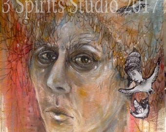"""Original Abstract Figurative Painted Sketch - """"A Little Bird Told Me"""""""