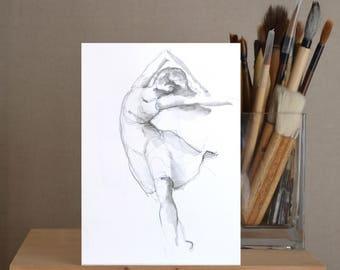 Original pencil drawing, female drawing, ballerina art drawing, art drawing, dessin, drawing, original drawing, movement art, female,  art