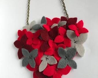 Felt Flower Necklace - Flower Cluster - Felt Bouquet - Red Flowers