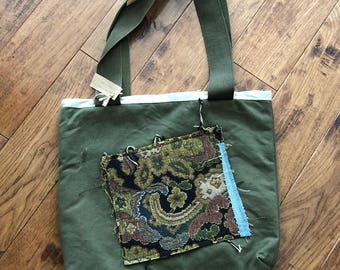 SALE !!!upcycled army tote bag with vintage tapestry