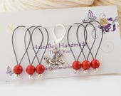 Horse Progress Keeper with Red Stone Beaded Stitch Markers Set Knitting Notions Gifts for Knitters