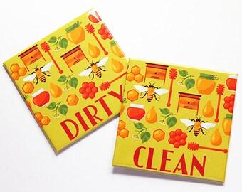Dishwasher Magnet, honey, bee, Clean Dishes Magnet, Dirty Dishes Magnet, Green, Orange, Kitchen Magnet, stocking stuffer (7816)