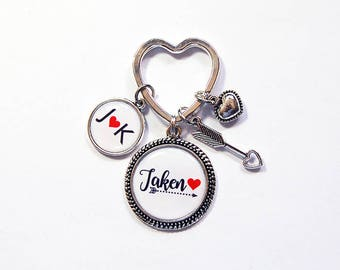 Taken Keyring, Heart Keychain, Keychain with charms, Stocking stuffer, gift under 20, Valentines Day, Love, Gift for Girlfriend (7915)