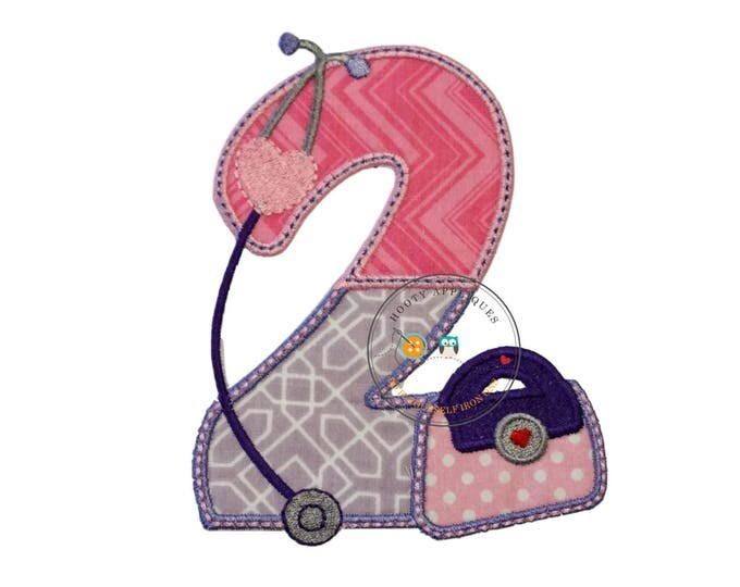 Girl's birthday number two doctor iron on patch in pink zigzag fabric and purple embroidery thread and purple geometric print trimmed pink
