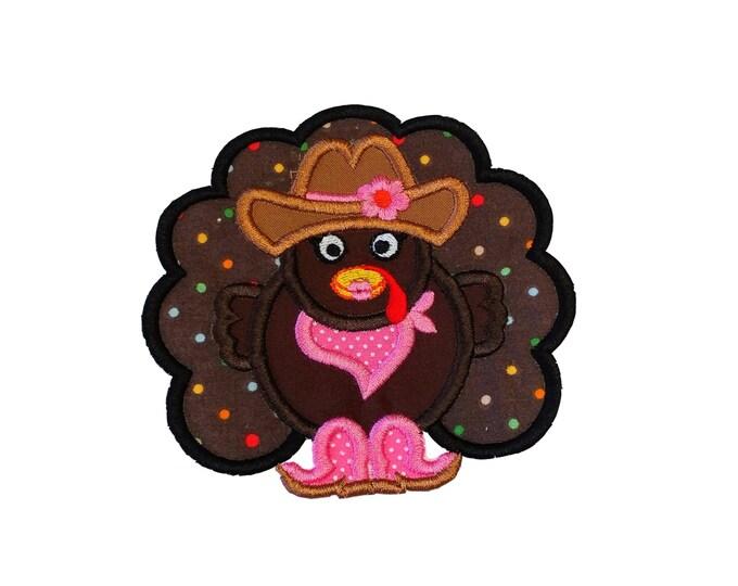 Western Cowgirl turkey fabric iron on applique-