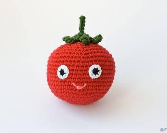Baby Rattle Toy - Tomato Crochet Rattle by  FrejaToys