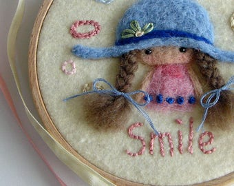 Embroidery Hoop Art Little Girl Smile Wool Painting, Needle felted Painting, Nursery Embroidery hoop, Whimsical Gril Hanging Art