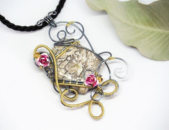 Crazy Lace Agate Wire wrapped pendant gemstone necklace Nature jewelry Pink roses Anniversary Gift for girlfriend/her Antiqued silver grey
