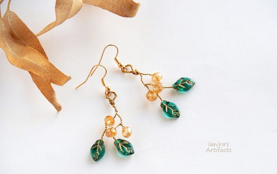 Dainty earrings twig leafy dangle everyday jewelry for women Woodland Nature inspired jewelry Anniversary gifts for her Green leafs