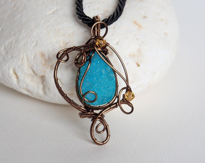 Druzy necklace Wire wrapped pendant Turquoise Blue Gemstone Best friends gift Handmade jewelry Top selling items mother's day gift for her