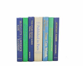 Blue Green Decorative Books, Antique Beige Book Set, Pastel BOok Decor, Wedding Decor, Old BOok collection, HOme Decor
