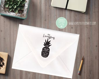 Pineapple return address stamp, Pineapple Theme Large Custom Address Stamp, Pineapple Gift style 1002 - Lovely Little Party