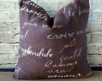 French Script Pillows - French Pillow - Brown Pillow Covers - Brown Pillows - French Pillow Covers - French Country - Brown Throw Pillows
