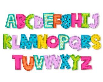 Applique Alphabet Font Machine Embroidery Design 4 sizes AL041