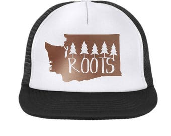 Washington State Roots Trucker Hat {Rose Gold} Toddler-Adult Size