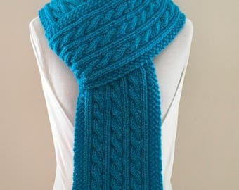 Cable Knit Scarf - Aqua