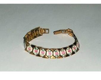 Vintage Bracelet, Enameled Rose Panels on Bookchain
