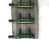 Live Edge Three Bottle Wine Rack WRLE3 Wall Mount Holder Rustic Antique Barnwood Leather