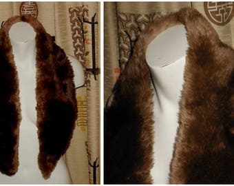 Vintage Fur Scarf Light Brown Fur Wrap Fur Collar Fluffy Brown Fur Boho Fur Collar 42 inches long