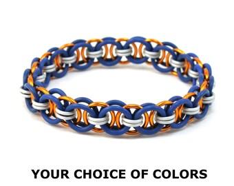 Custom Chainmail Bracelet - Moon Chain Rubber Metal Stretch Bracelet for Women - Womens Bracelet