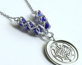 Compass Rose Necklace - Wax Seal - Compass Necklace - Chainmail