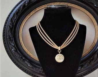Designer Button Necklace, Multi Chain Necklace Satin Gold Choker with Iconic Designer Insignia, Birthday Gifts, Button Jewelry veryDonna