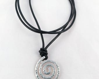 Men's Sterling Silver Spiral Necklace - Large Koru Spiral -  Hammer Formed - Hammered Texture - Adjustable Leather Cord