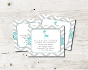 Bring a Book Baby Shower Insert giraffe instead of a card book request card books for baby gender neutral boy girl aqua gray printable
