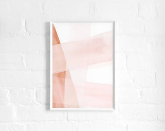 Blush and Copper Abstract A3 Art Print, Watercolour Strokes, Pink and Copper Poster, Minimalist Art, Light Modern Abstract Art, Wall Decor