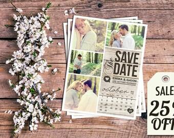 Save The Date Magnet, Card or Postcard . Modern Rustic Calendar Wood SALE 25% OFF