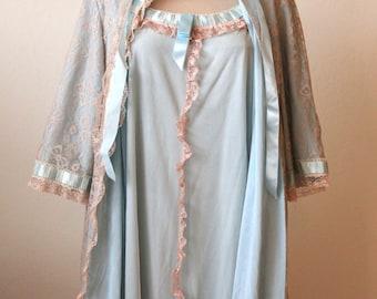 Odessa Barsa Light Blue Lace Nightgown Set | Vintage Lingerie and Nightwear | 1960's Lingerie | Nylon Lace Peignoir Neglige | Vintage Gown