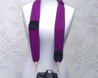 Purple DSLR Camera Strap, Adjustable Cotton Camera Scarf Strap, Dark Purple Scarf Camera Scarf, Photography Gift, Accessory for Camera