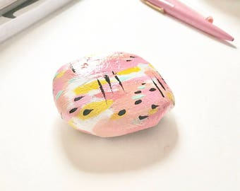 READY to SHIP Small Painted Rock Paper Weight Desk Organizer / Desk top / Stocking Stuffer Gifts Under 10 / Pretty desk top  Paper Organizer
