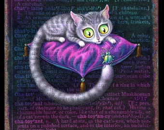 Cat eyes painting, Chatoyant: Grey tabby cat with glowing green eyes, seated on silk cushion, with beetle. Cat lover gift, Initial letter C