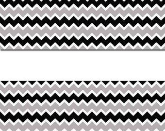 CHEVRON BORDER DECALS Black Gray Wallpaper Border Wall Art Stickers Decor Zigzag Pattern Home Baby Nursery Kids Room