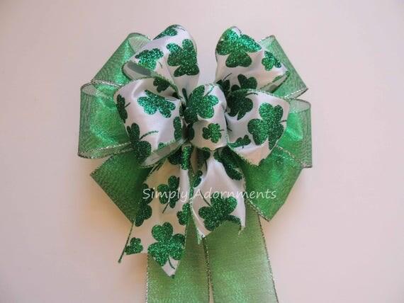 Kelly Shamrock Wreath Bow St Patrick's Wreath Bow Irish Shamrock Christmas Bow Wedding Decor Kelly Green Shamrock Bow St Patrick Gift Bow